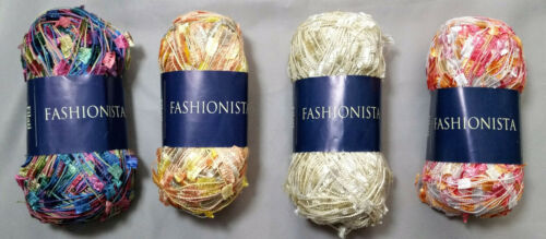 Filati Europa Fashionista Accent Flag Novelty Yarn Ivory Peach Pink Multi Colors