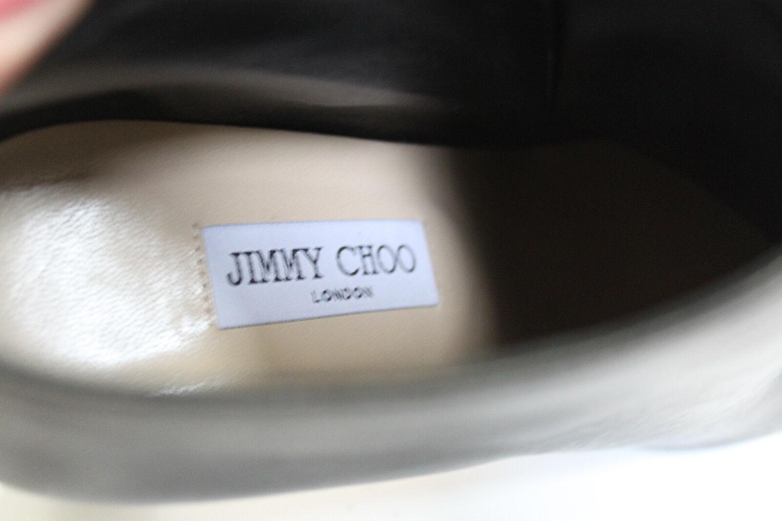 Nuevas Talla 10.5 40.5 Jimmy Choo Choo Jimmy medalla Botín De Cuero Negro Tobillo Zapatos Taco de Bloque 40f575