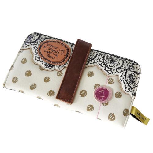 Geldbeutel mit Knopfverschluß für Frauen Portemonnaie Damen Geldbörse