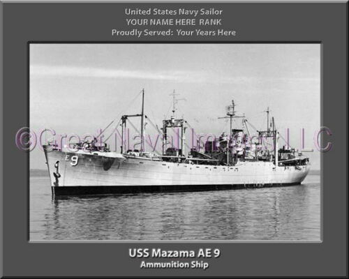USS Mazama AE 9 Personalized Canvas Ship Photo Print Navy Veteran Gift