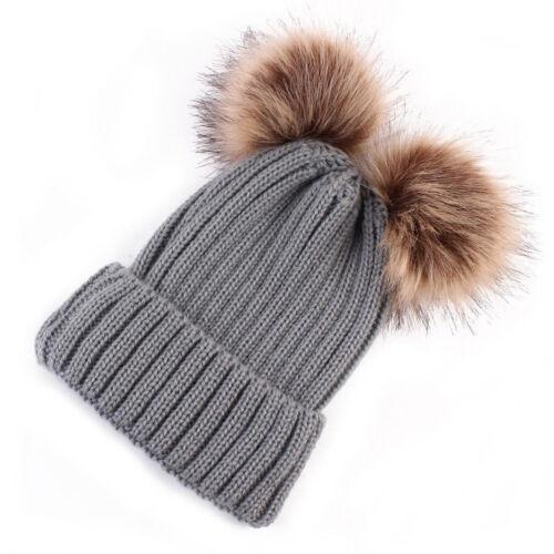 UK Newborn Toddler Baby Girls Boys Hats Warm Winter Knitted Wool Hemming Hat Cap