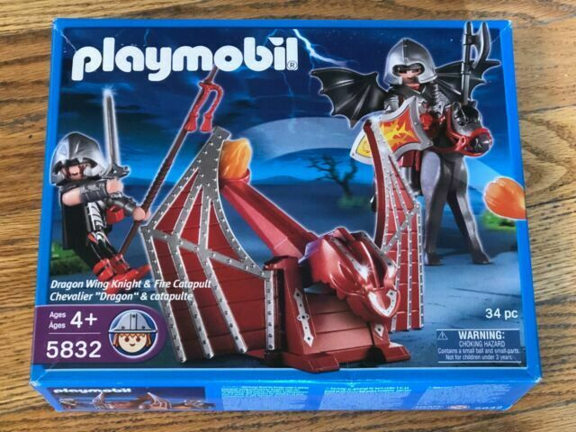 Playmobil Elbe Knight Warrior 3 x Torso Dragon Head Green Chain Silver Top