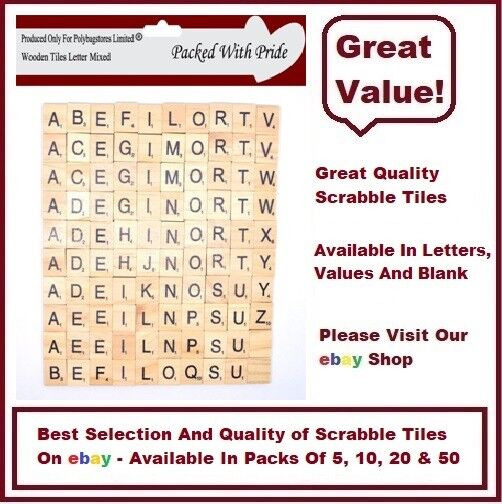 WOODEN - SCRABBLE LETTERS TILES - CHOOSE FROM 5, 10, 20, 50.