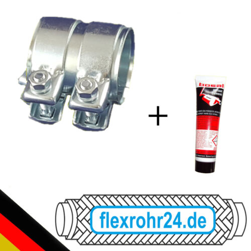 Auspuff Rohrverbinder Doppelschelle Universal mit Montagepaste Ø 50 x 80mm NEU