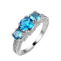 Size 5-12 Aquamarine Gems Engagement Ring Women's 10KT White Gold Filled Jewelry