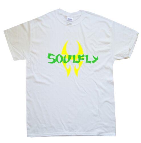 White SOULFLY T-SHIRT sizes S M L XL XXL colours Black