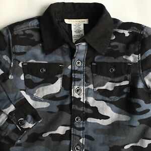 Boys-Shirt-Size-12-Months-Quilted-Warm-Camouflage-Black-Gray-Baby-button-Down