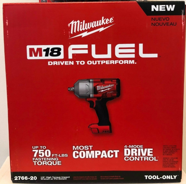 """Milwaukee 2766-20 M18 FUEL 1/2"""" High Torque Impact Wrench with Pin Detent"""