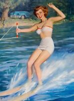 1940s Pin-up Let's Water Ski Picture Poster Print Art Pin Up