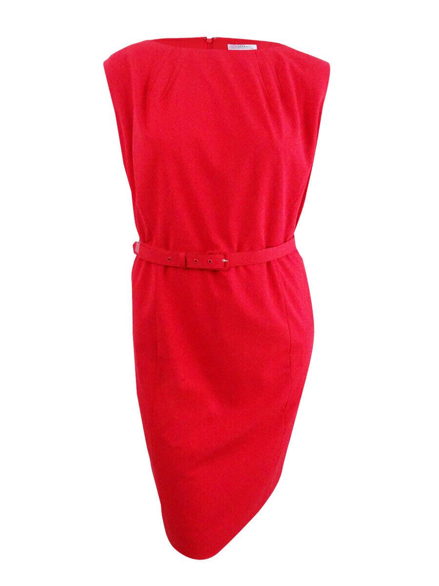 Tahari ASL Women's Plus Size Belted Sheath Dress