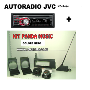 Panda Music KIT casse supporti e antenna  NERO Autoradio JVC mp3 CD aux usb