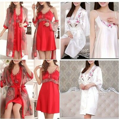 Dressing Gown/robe and Chemise Slip 2 Piece Set Nightdress Bridal Gift S,M,L,XL
