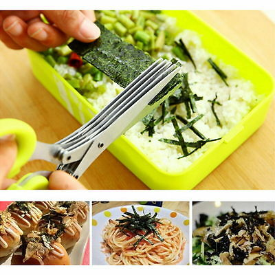 Kitchen Knives 5 Layers Scissors Shredded Scallion Cut Herb Spices Scissors KY