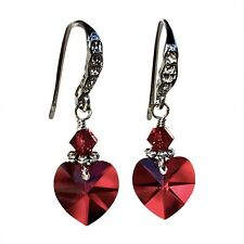 Red Garnet-tone Heart Charm Earrings with Crystals from Swarovski Mother's Day