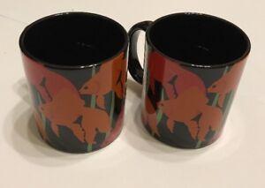 Set-of-2-Vtg-Otagiri-Fish-Bouquet-Coffee-Mug-Raised-Embossed-Taylor-Black-Japan