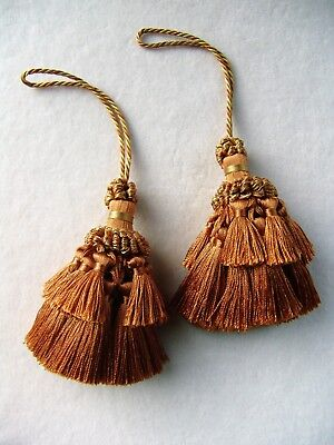"""4 1//2/"""" Gold /& Bronze Key Tassels ~ Tiebacks Sewing Trim Tiebacks SET OF 2 +"""