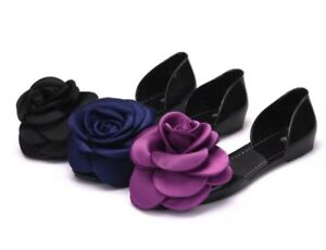 Extra Large Flower Pvc Flats Sandals Shoes by Unbranded