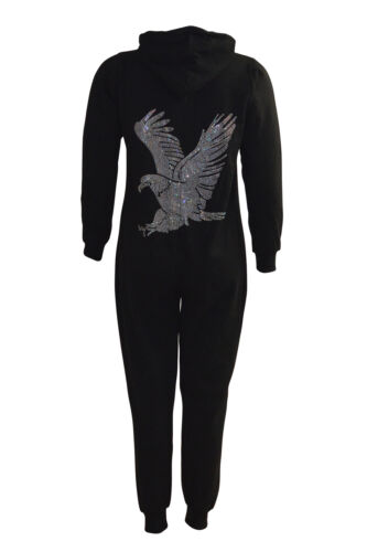 New Womens Plus Size All in One Ladies Eagle Stud Falcon Rhinestone Jumpsuit