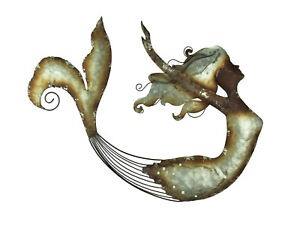 Distressed Metal Art Swimming Mermaid Wall Sculpture