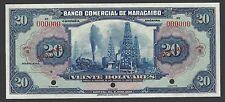 Venezuela Banco De Comercial Maracabo 20 Bolivares 1929 PS177 Specimen AUNC-UNC