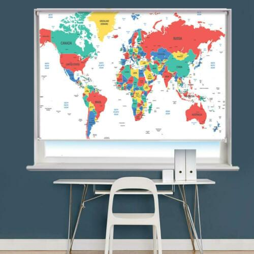 Detailed World Map Printed Picture Photo Roller Blind Blackout