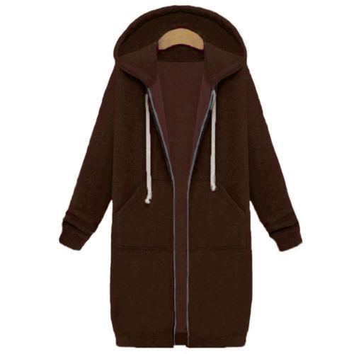 Damen Mantel Jacke Warm Kapuzenpullover Zip Sweatshirt Lang Parka Coat Hoodie