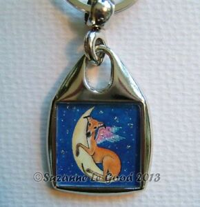 Greyhound-dog-angel-art-Keyring-handbag-charm-original-painting-Suzanne-Le-Good