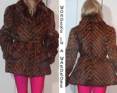 ECHT PELZ DYED RABBIT? FUR JACKET CHEVRON STRIPED ANIMAL PRINT DESIGN Sz 40E S
