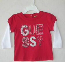 GUESS Little Girl Sparkly Red Long Sleeve T-Shirt size 12 Months NWOT G82378