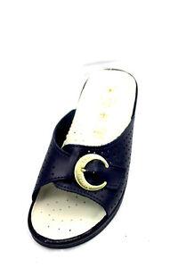 abbastanza economico grande selezione nuovo stile e lusso Dettagli su ciabatte sanitarie SANITAL Lighta 1368 natomiche in pelle blu  con fibbia regola