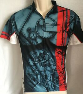 PRIMAL-Mens-Mecha-BICYCLE-Jersey-Small-S-Steampunk-Gears-Pockets-Gray-Red-Stripe