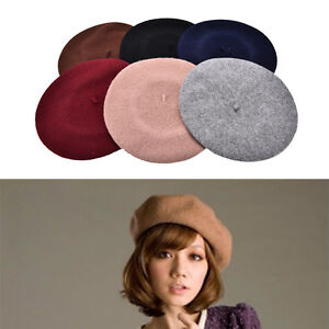 Image is loading Plain-Beret-Hat-French-Beret-Winter-Autumn-Women- 0f4ed6c43aa