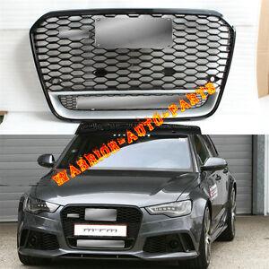 For Audi RS6 Front Euro Black Hexagon Grille W/Quattro Logo