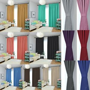 Thermal Blackout Pencil Pleat Tape Ready Made Curtains - Blockout Energy Saving
