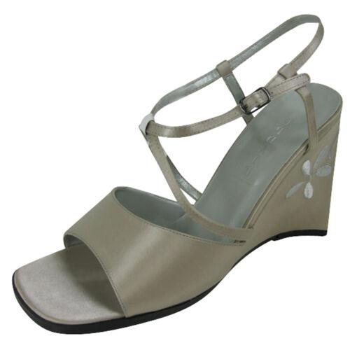 Ladies Satin Wedge Dress Sandals Shoe Womens Party Wedges Shoe Size UK 4-8
