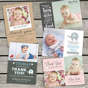 10 X Personalised Thank You Cards Baby Boy Or Girl Birthday
