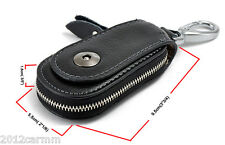Universal Black Genuine Cow Leather Car Auto Key Case Remote Keychain Bag Pauch