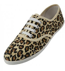 127ef1e820a Womens Leopard Animal Print Tan Canvas Lace Up Sneakers Plimsoll ...
