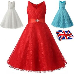 UK-Seller-Elegant-Lace-Girls-Kids-Flower-Girls-Bridesmaids-Wedding-Dress-Prom