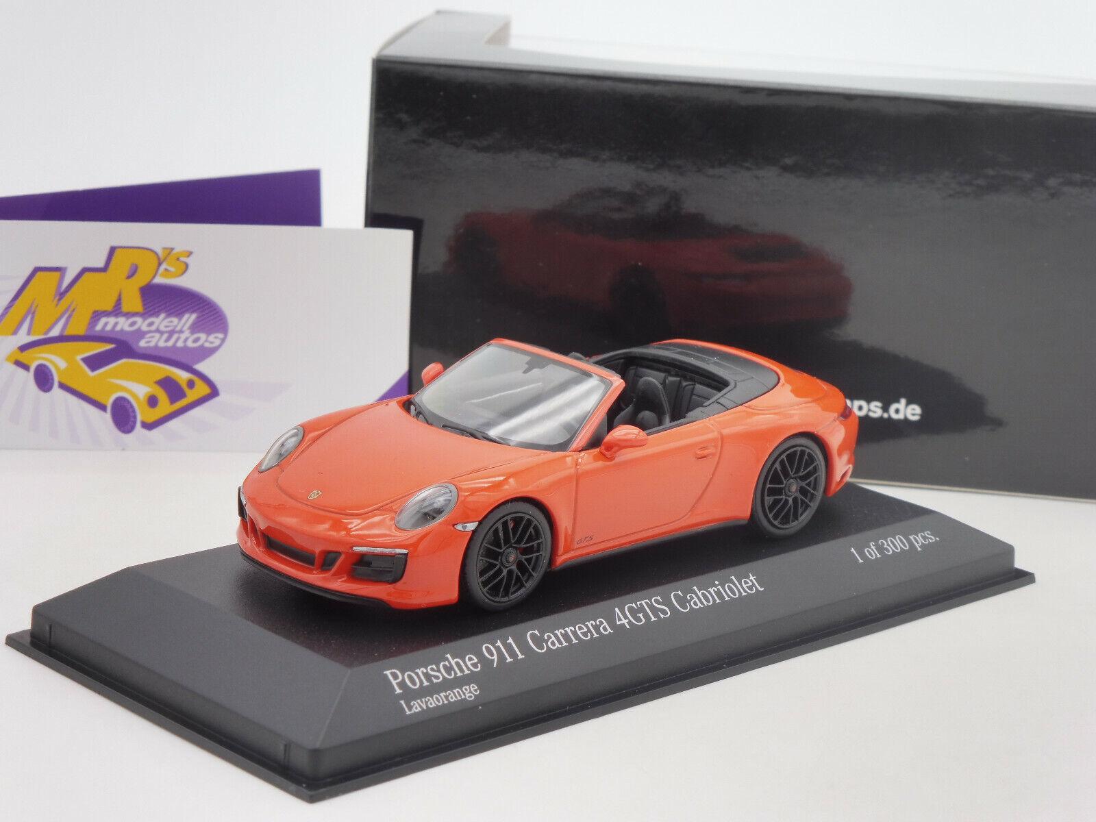 Minichamps 410067331   PORSCHE 911 Carrera 4GTS Cabrio Bj. 2016   Orange   1 43