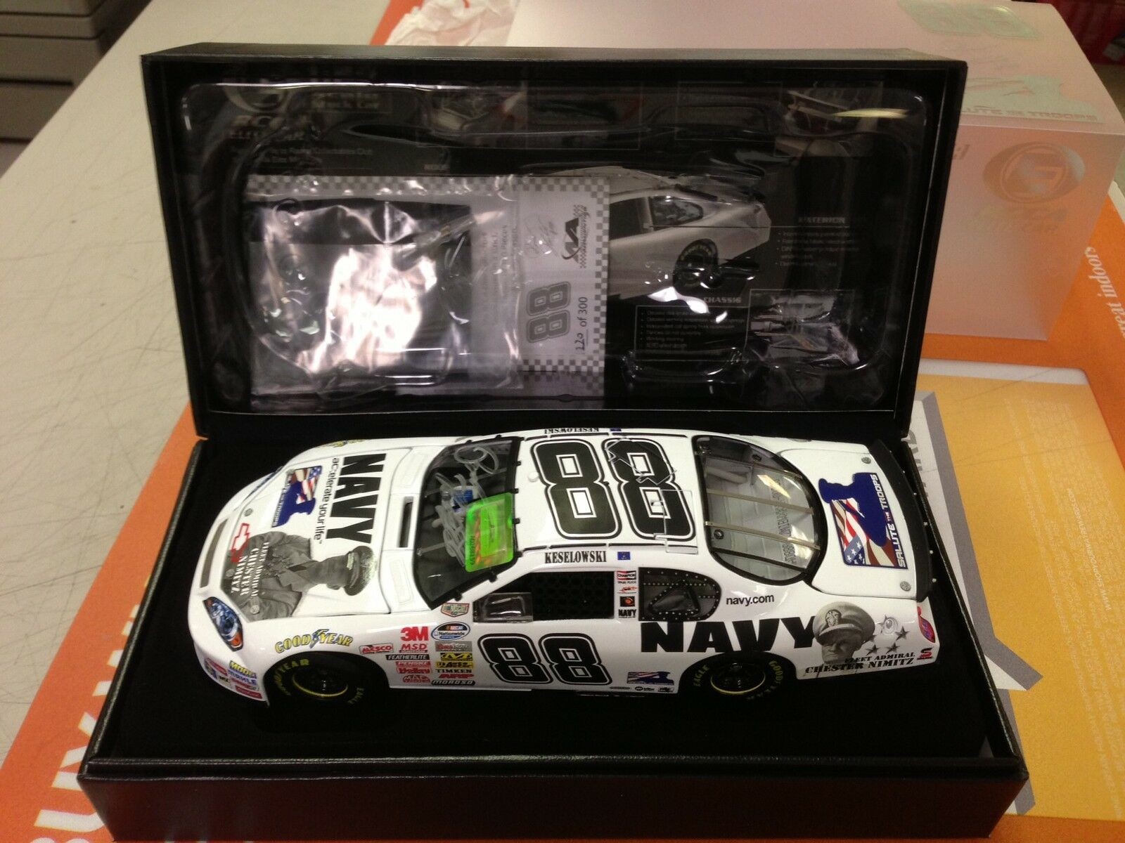 1:24 Brad Keselowski MILLER LITE NAVY Salute the Troops Autographed Elite COA