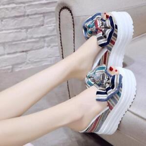 Women-039-s-Bowknot-Platform-High-Wedge-Heel-Slippers-Slip-On-Peep-Toe-Sandals-SHoes