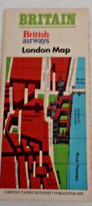 1976 Vintage  London Map British Airways British Tourism Authority Publication