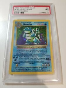 Rare Pokemon Shadowless Blastoise PSA 7 #2/102 Holographic NM Near Mint