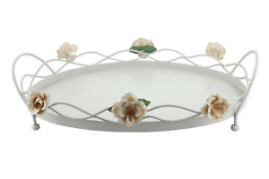 Metal-Floral-Oval-Serving-Tray