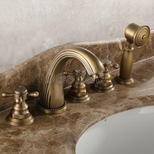 Antique Brass Deck Mount Roman Tub Filler Faucet 5-Holes 3 handles Tap stf051