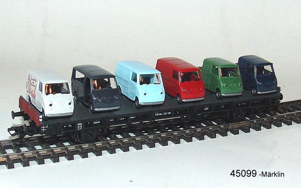 MÄRKLIN 45099-02-  Autotransportwagen- - Flachwagen der Austauschbauart Sm 24 DB