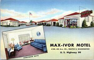 Seattle-Washington-Postcard-Max-Ivor-Motel-Hwy-99-Roadside-1940s-Linen