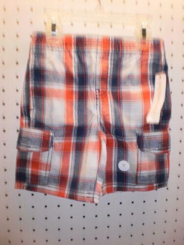 3T TOUGHSKINS Toddler Boy's 2T 4T Red Plaid CARGO Ctn Shorts FREE Shpg NWTA