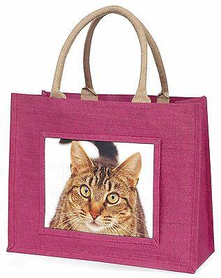 Gesicht von brauner getigerter Katze Große Rosa Einkaufstasche